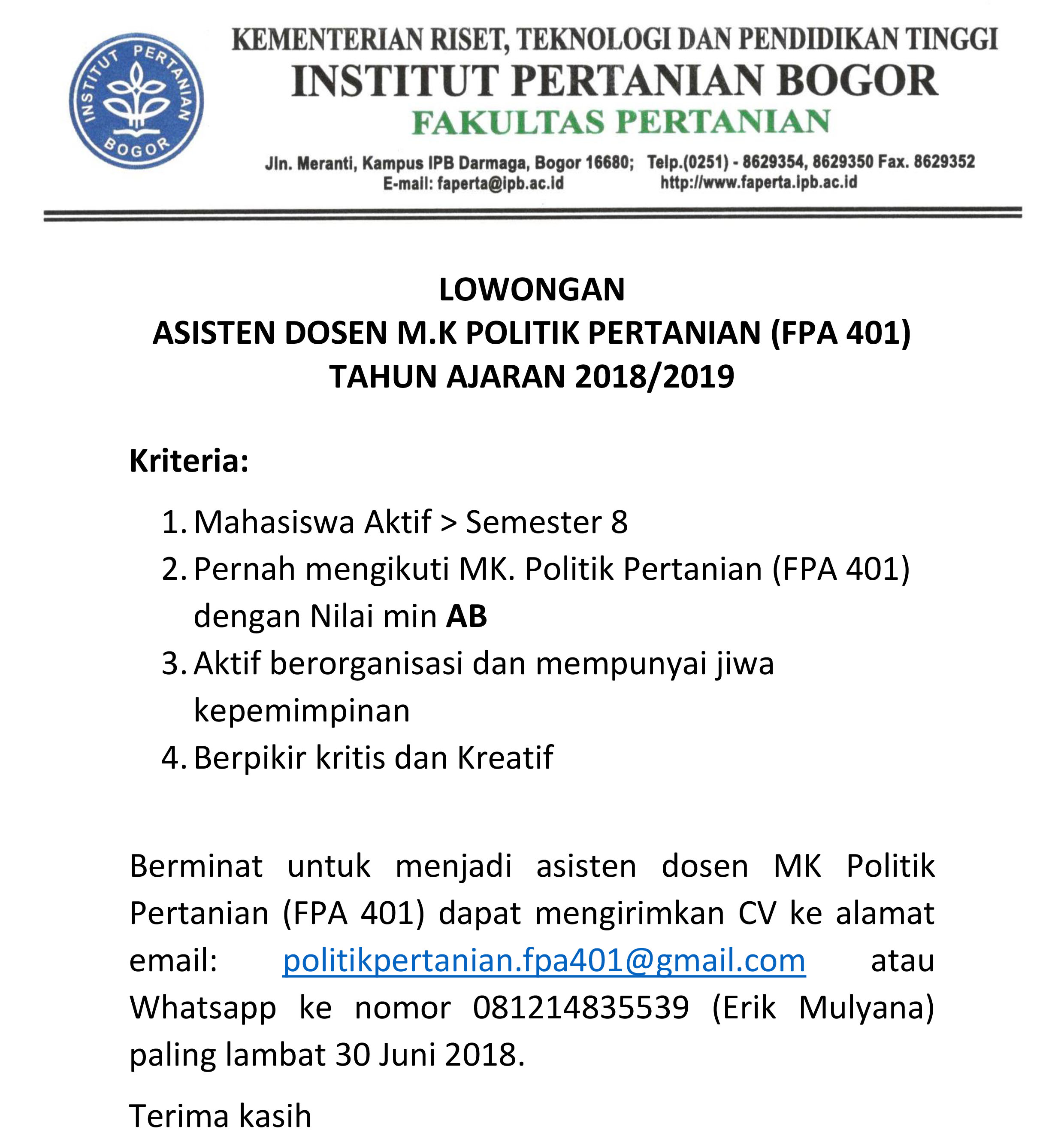 Lowongan Asisten Dosen M K Politik Pertanian Fpa 401 Tahun Ajaran 2018 2019 Faperta Ipb