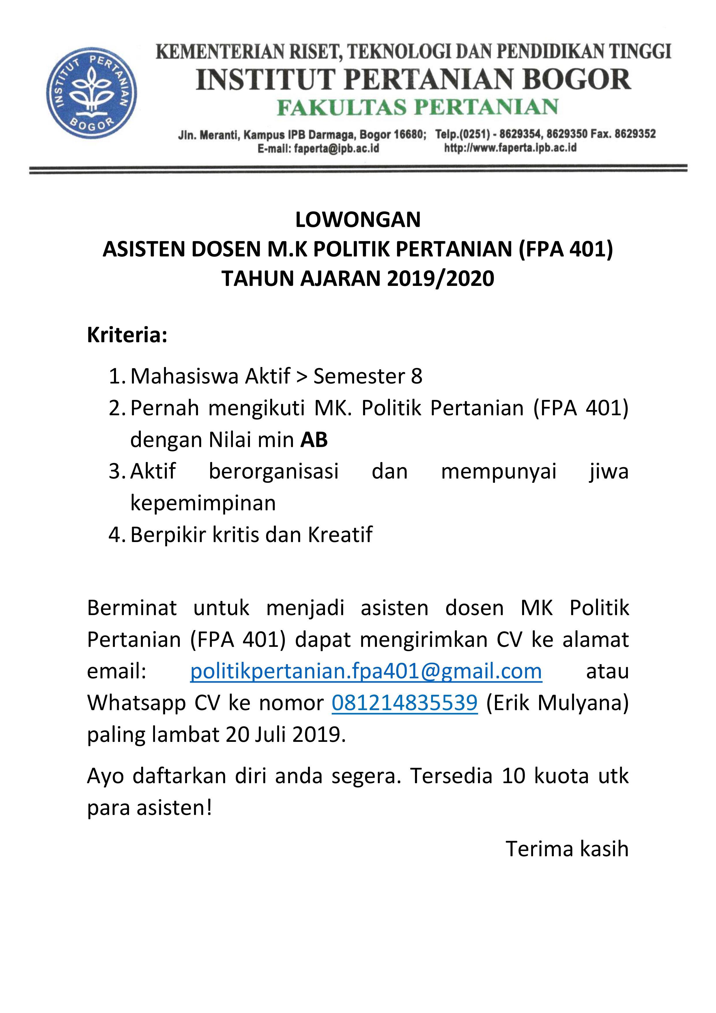 Lowongan Asisten Dosen Mk Politik Pertanian Faperta Ipb